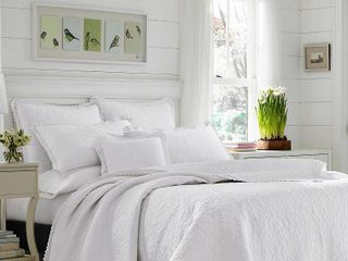 laura Ashley Heirloom Crochet White Cotton 3 Piece King Farmhouse Quilt Set Retail 149 97