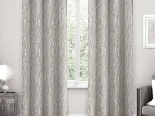 Exclusive Home Forest Hill Woven Blackout Curtain Panels Dark Gray   Set of 2 52 x 108