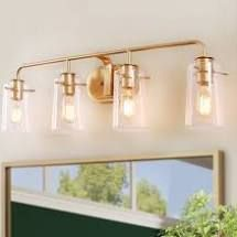laluz Modern 4 lights Bathroom Vanity lighting Golden Wall Sconce   l31 xE5 5 x H 9  Retail 195 99