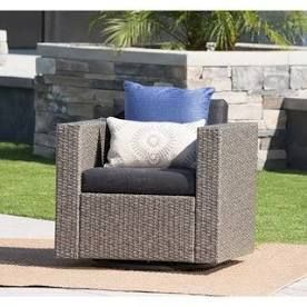 Puerta Outdoor Wicker Swivel Club Chair with Cushions by Christopher Knight Home Retail 267 49