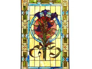 Chloe lighting Tiffany Style Floral Design Window Panel  Suncatcher  Retail 195 99