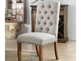 Furniture of America Tufted Upholstered Dining Chairs  Set of 2