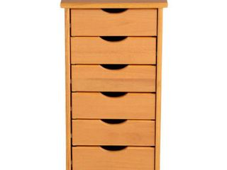 Adeptus Solid Wood 6 Drawer Roll Cart   Small