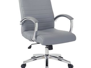 Office Star Products Executive low Back Faux leather Chair with Chrome Arms and Base   single Retail 164 49