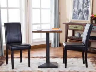 Round Hill Furniture Urban Style Solid Wood leatherette Small Padded Parson Chairs  Set of 2  Retail 101 99