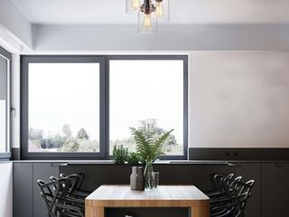The lighting Store Belinda Flush Mount in Antique Black Finish with Clear Glass Shades
