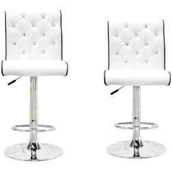 Porch  amp  Den Munson Crystalesque Tufted White Bar Stool  Set of 2