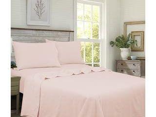 Royale linens Brushed Percale 100 Percent Cotton Blush Twin Sheet Set