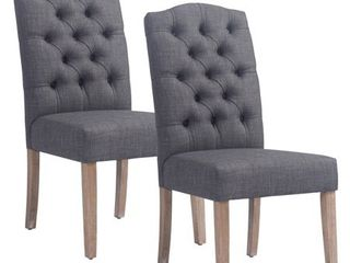 lucian Set of 2 linen Button Tufted Dining Chairs Retail 369 99