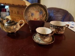 lot of Japanese Cups  Saucers and Teapot