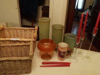 Two Wicker Baskets and Candle Holders