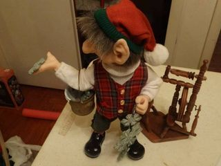 Elf Figurine and Miniature Spinning Wheel