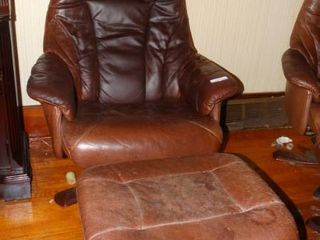 leather Chair with Footrest