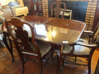 Wooden Dining Table with 6 Chairs with White Cushions and Table Inserts
