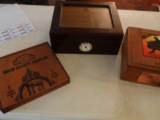 Cigar Humidor Box and 2 Wooden Cigar Boxes