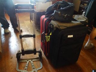 lot of 2 Pieces of luggage and a Metal Magna luggage Cart