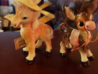 Two Ceramic Donkey Figurines