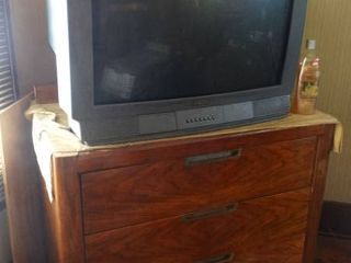 Hitachi TV and Wooden Chest of Drawers