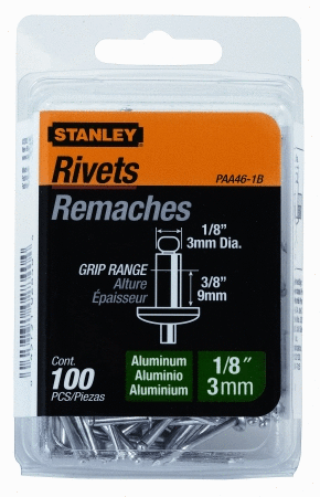 Stanley PAA46 1B 1 8 Inch X 3 8 Inch Aluminum Rivets  Pack of 100 Pack of 100