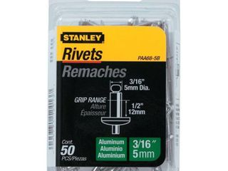Stanley Hand Tools PAA68 5B 3 16  X 1 2  Aluminum Rivets 50 Count