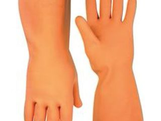 ClC FlOCK lINED lATEX STRIPPER GlOVES  lARGE  ORANGE  12 IN  SINGlE PACK