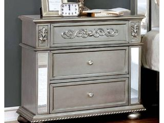 Furniture of America Zeln Traditional Silver Solid Wood Nightstand  Silver