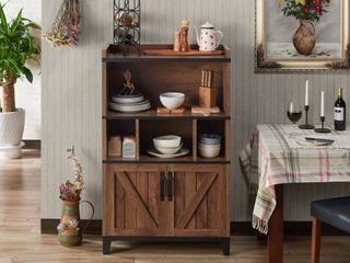 Furniture of America Gern Rustic Walnut 31 inch Buffet Cabinet  Retail   389 99