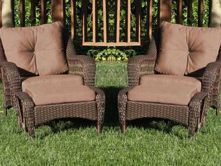Jeco 4pc Wicker Seating Set in Espresso with Brown Cushions  Retail   679 99