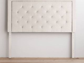 BROOKSIDE Upholstered Headboard with Diamond Tufting  Queen Cream