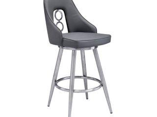 Strick   Bolton Salokivi Grey Faux leather Stainless Steel Stool  Retail 295 49