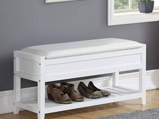 Roundhill Furniture Rouen Seating Bench with Shoe Storage  White