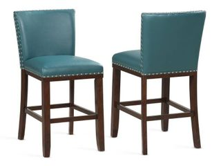 Toledo Wood and Faux leather Bar Stools  Set of 2  by Greyson living  Peacock