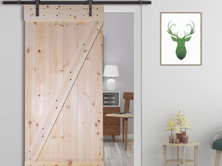CAlHOME 30 in  x 84 in  Unfinished Z Bar 100  Knotty Pine Interior DIY Barn Door Slab with Hardware   Retail 373 99
