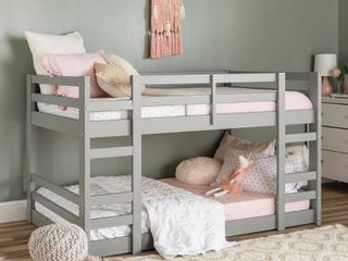 Walker Edison Gray low Sold Pine Wood Twin Bunk Bed