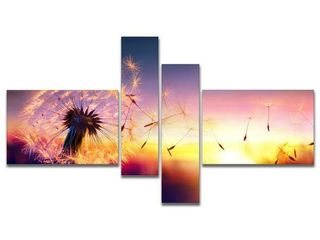 Designart  Dandelion at Sunset Freedom to Wish  Abstract Wall Art Canvas  Retail  172 89
