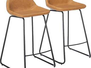 Cortesi Home Ava Counter Stools in Saddle Brown Faux leather  Set of 2  Retail 220 99