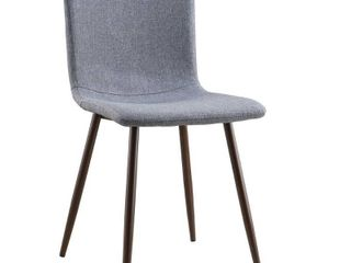 Wadsworth Dining Chair with Walnut legs in Grey  Set of 2  by Poly and Bark