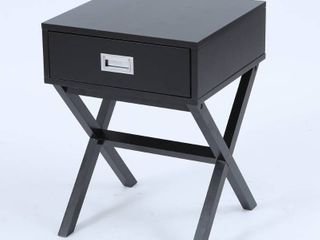 Black X leg Accent End Table with Storage  Retail 99 99
