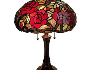 Amora lighting 24  Tiffany Style Stained Glass Roses Table lamp   Retail   195 99