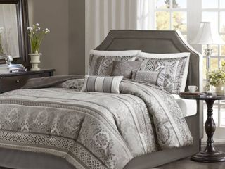 Madison Park Venetian Grey Jacquard 7 piece Comforter Set  Cal King   MSRP  368 42