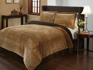 Cheetah Velvet Plush Print 3 piece Comforter Set  Retail 91 49