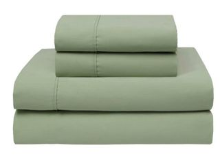 Wrinkle Free 420 Thread Count Cotton Bed Sheet Set  Sage   Queen  Retail   88 50