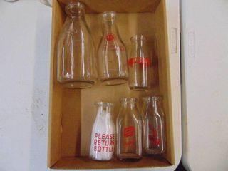 6 Milk Bottles   Pint and Quart Bottles