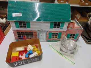 Vintage Metal Doll House with Plastic furniture