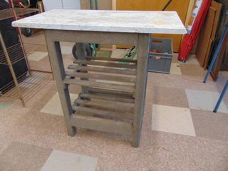 Oak Plant Stand with Marble Top