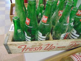 Wooden 7 Up Crate with bottles