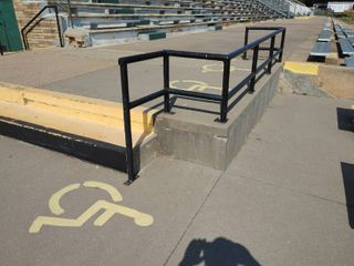 2 bar guard rail around handicap benches and ramp  Bolt on