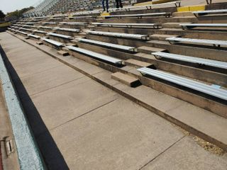 lower grandstand aluminum bleachers  bolt to ground