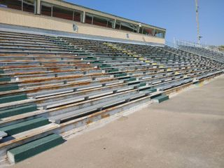 Upper aluminum bleachers  bolt to ground  HUGE lot of bleacher seats