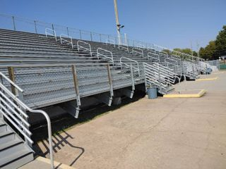 HUGE Grandstand set of aluminum bleachers  Complete fence guard rail steps  Derby Middle School Football Field